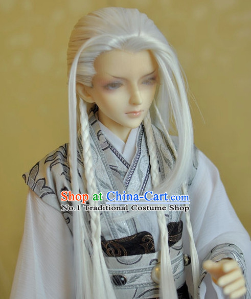 Chinese Handmade Long White Wigs for Men