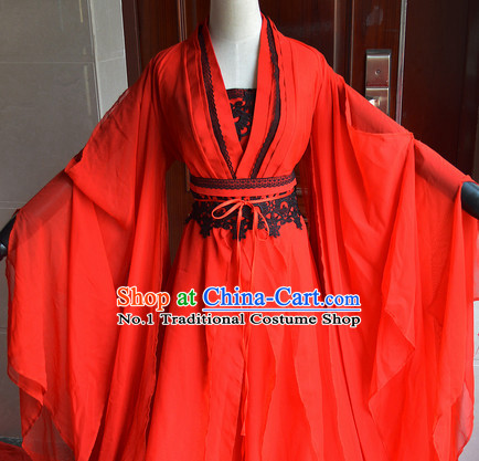Chinese Ancient Red Wedding Dress Complete Set