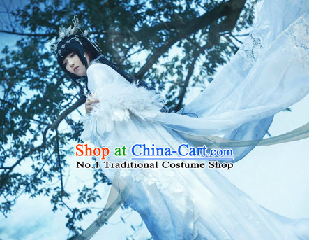 Chinese Ancient White Wedding Dress Complete Set