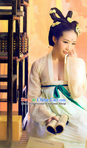 Chinese Sexy Tang Dynasty Female Costumes and Hair Accessories