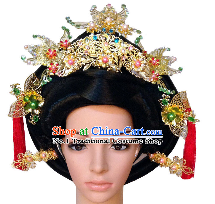 Handmade Chinese Empress Long Black Wig and Hair Accessories