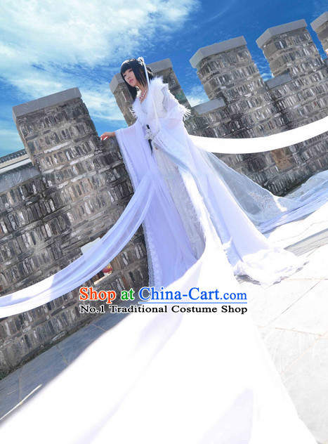 Chinese Pure White Fairy Cosplay Halloween Costumes and Hair Jewelry Complete Set