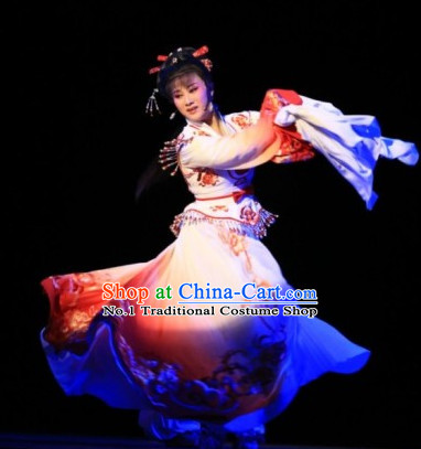 Chinese Traditional Long Sleeve Dancing Costumes and Hair Accessories Complete Set