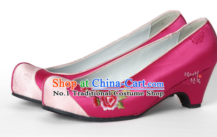 Korean Traditional Wedding High Heel Shoes for Brides