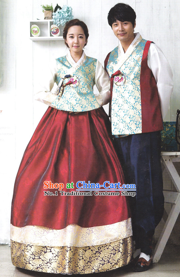 Korean Couple Traditional Dresses Hanbok Clothing for Men and Women
