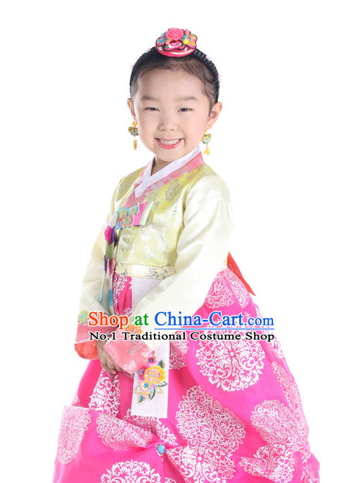Korean Kids Traditional Dresses Hanbok Clothing Complete Set
