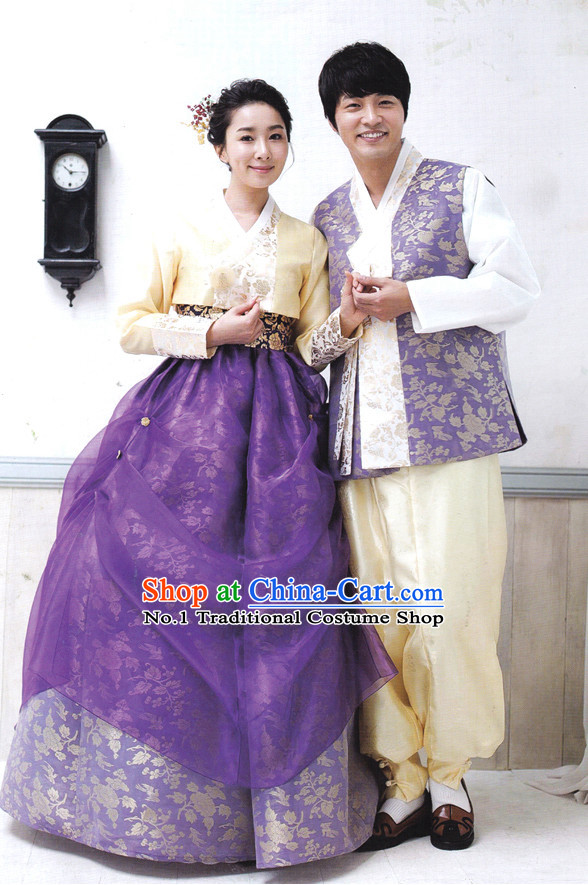 Korean Couple Traditional Dresses Hanbok Suits Complete Set