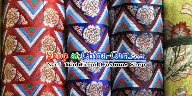 Chinese Traditional Silk Brocade Embroidered Fabric