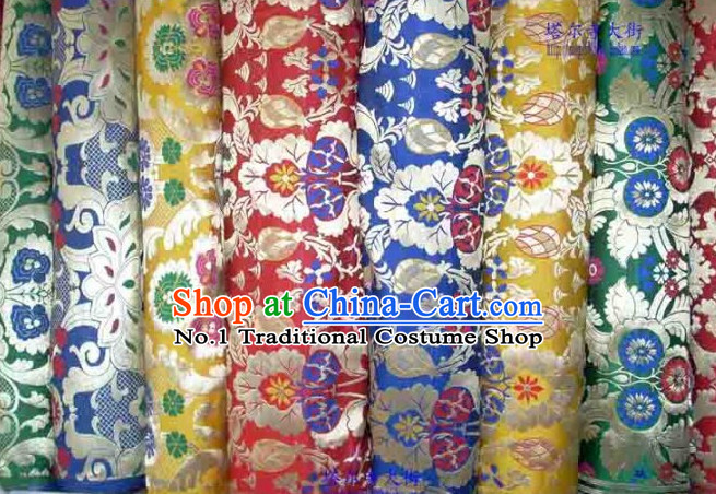 Chinese Tibetan Style Silk Brocade Embroidered Fabric Dress Material