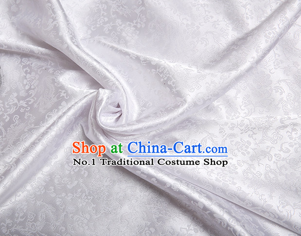 White Chinese Traditional Dragon Brocade Fabric