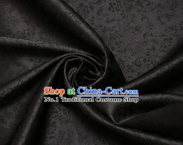 Black Chinese Traditional Dragon Brocade Fabric