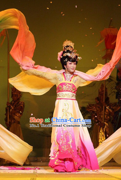 Chinese Empress Stage Costumes and Headwear Complete Set