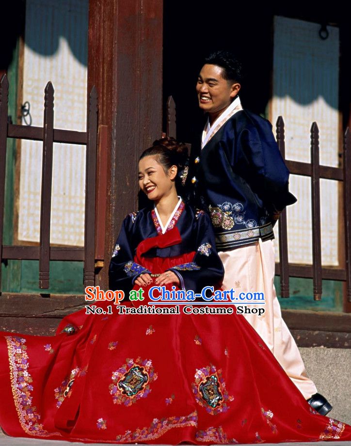 Korean Couple National Dress Costumes Traditional Costumes 2 Sets