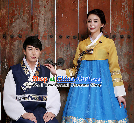 Korean Couple National Costumes Traditional Costumes Hanbok Dresses