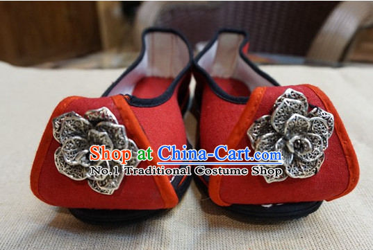 Chinese Tradiitonal Handmade Red Shoes