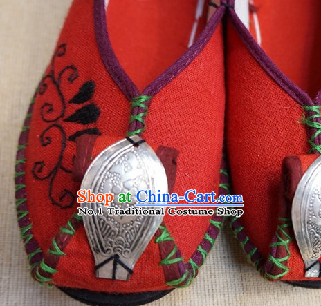Lucky Red Chinese Tradiitonal Handmade Fabric Shoes