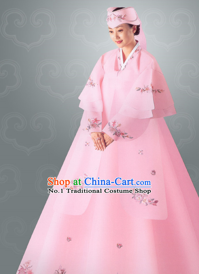Traditional Korean Wedding Dress Clothing and Hat Complete Set