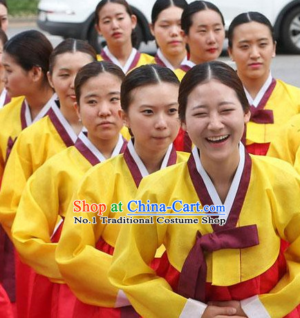 Traditional Korean Group Dance Costumes for Girls