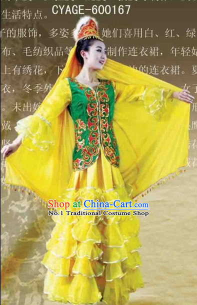 Chinese Xinjiang Dancing Ethnic Costumes Complete Set for Women