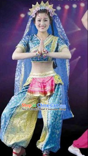 Chinese Indian Dance Costumes Complete Set for Women