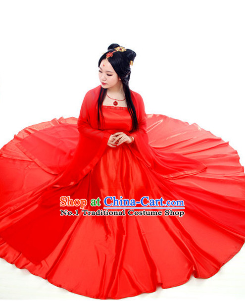 Pure Red Ancient Style Female Costumes and Hair Accessories Complete Set