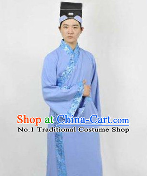 Chinese Traditional Scholar Costumes and Hat for Men