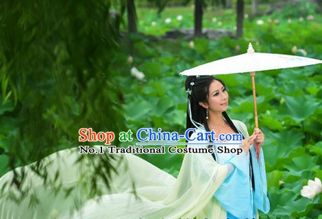 Chinese Traditional Umbrella Dancing Costume and Hair Ornaments Complete Set