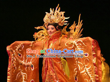 Chinese Traditional Queen Gown and Hair Jewelry Complete Set
