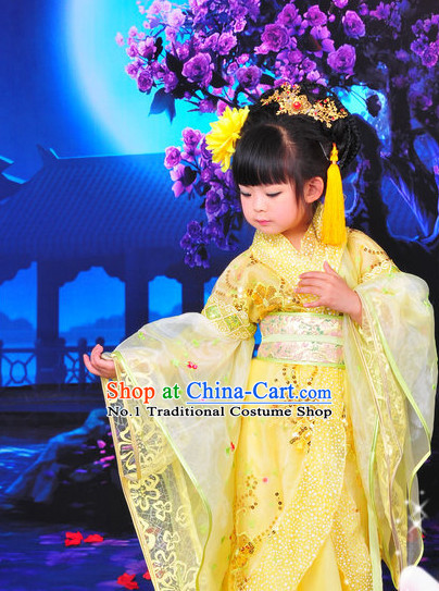 Chinese Traditional Princess Dress and Headpieces Complete Set for Kids