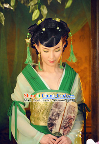 Chinese Traditional Princess Suit and Hair Ornaments Complete Set for Kids