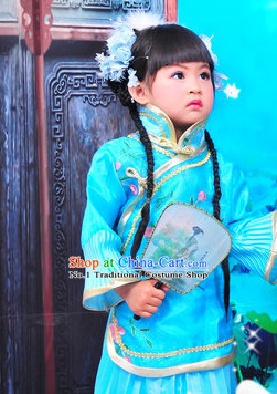 Chinese Traditional Dancing Costumes and Hair Clips Kids