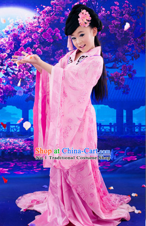 Chinese Traditional National Costumes and Hair Clips for Kids