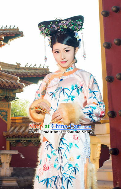 Chinese Traditional National Costumes Noblewoman Robe Hair Accessories