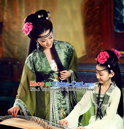 Chinese Traditional National Costumes and Hair Clips for Mothers and Kids