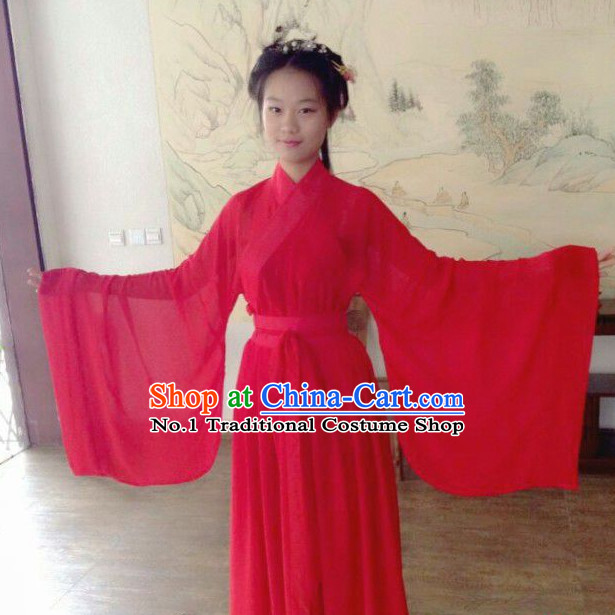 Lucky Red Chinese Han Clothing Free Delivery Worldwide