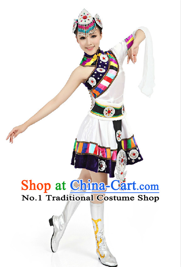 Chinese Traditional Tibetan Dance Suppy and Headwear Complete Set