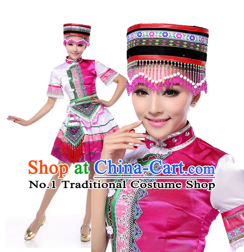 Chinese Traditional Yunnan Miao Dance Costumes Suppy and Headwear Complete Set