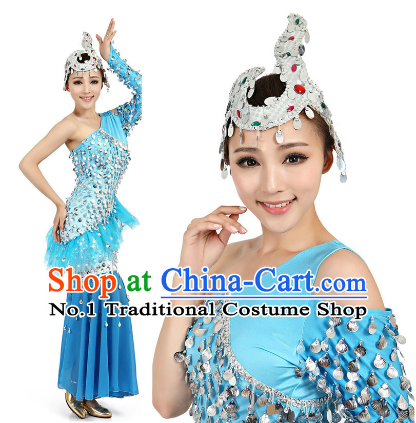 Chinese Dai Zu Ethnic Dance Costumes Apparel Dance Stores Dance Gear Dance Attire and Hair Accessories Complete Set for Women
