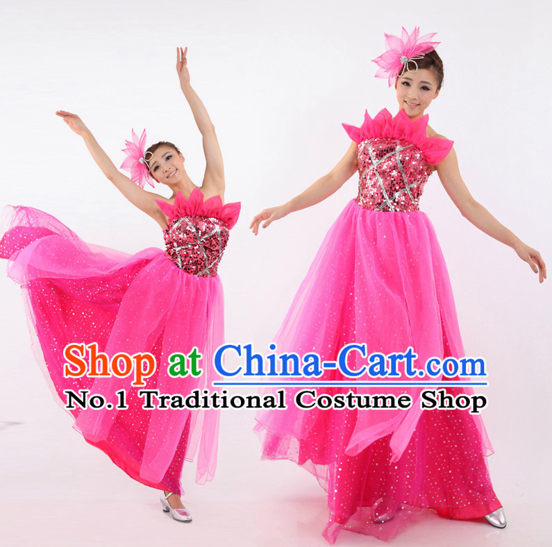 Chinese Ball Dance Costumes Apparel Dance Stores Dance Gear Dance Attire and Hair Accessories Complete Set for Women