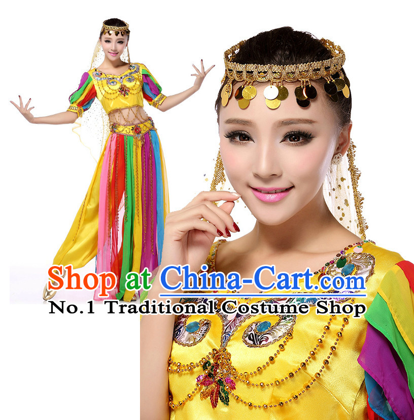 Indian Dance Costumes Apparel Dance Stores Dance Gear Dance Attire and Hair Accessories Complete Set for Women