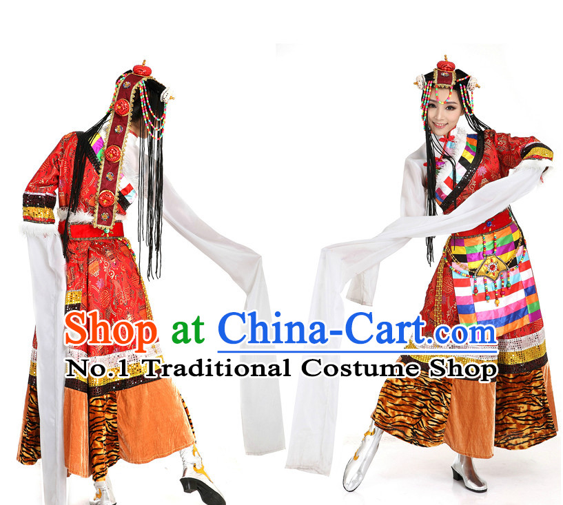 Mongolian Dance Costumes Apparel Dance Stores Dance Gear Dance Attire and Hair Accessories Complete Set for Women