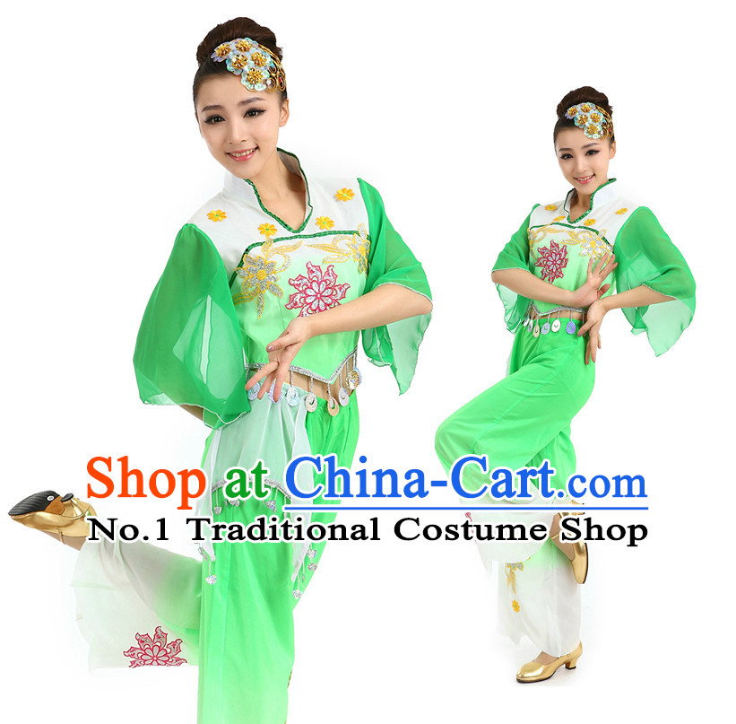 Chinese Green Fan Dancing Costumes Apparel Dance Stores Dance Gear Dance Attire and Hair Accessories Complete Set