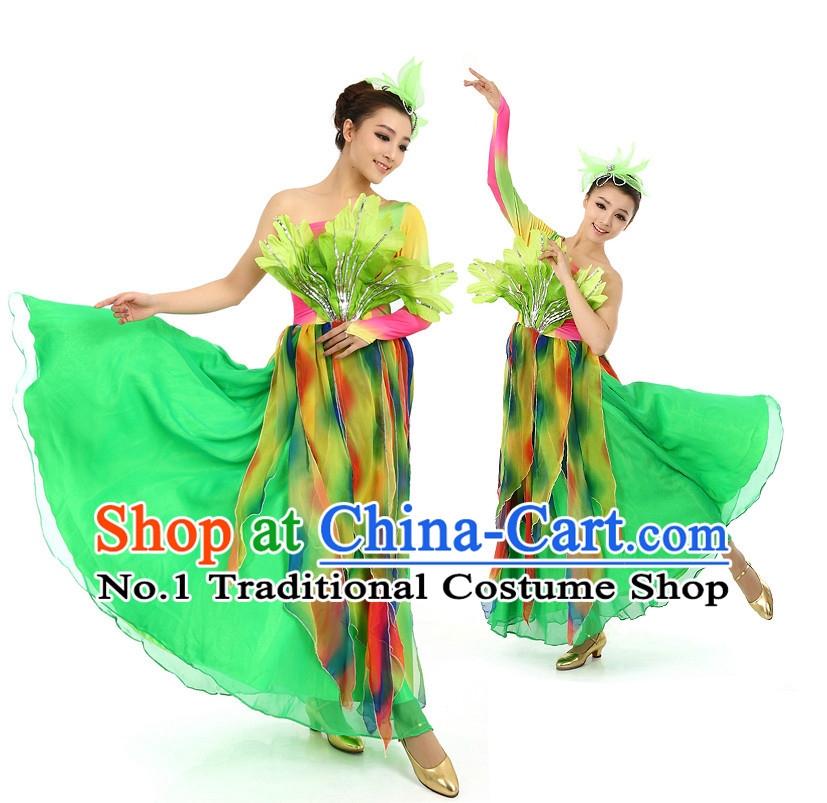 Chinese Stage Professional Dancing Costumes Apparel Dance Stores Dance Gear Dance Attire and Hair Accessories Complete Set