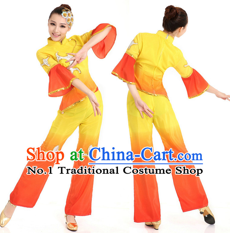 Asian Chinese Classical Fan Dancing Costume Dance Stores Dance Gear Dance Attire and Hair Accessories Complete Set