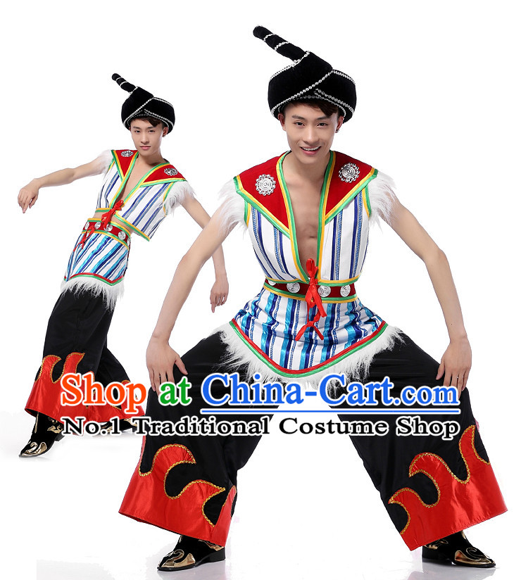 Asian Chinese Yi Dancing Costume Dance Attire and Hair Accessories Complete Set