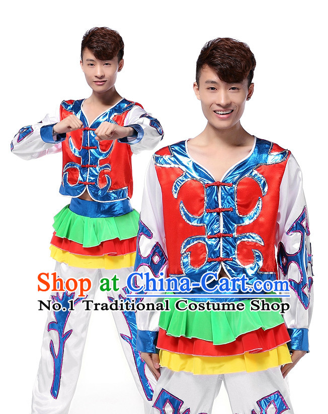 Asian Chinese Folk Ethnic Clothes Complete Set for Men