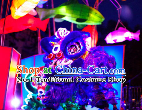 Luminous Purple Top Handmade Chinese Liion Costumes Complete Set