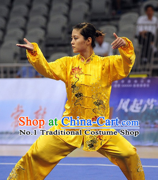 Top Lotus Embroidery Gold Tai Chi Qi Gong Yoga Clothing Yoga Wear Yoga Pants Yang Tai Chi Quan Uniforms for Women