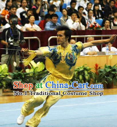 Top Double Dragons Competition Martial Arts Uniforms Martial Arts Supplies Kung Fu Swords Sword Championship Uniform for Men