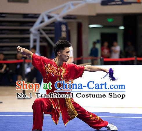 Top Embroidered Dragon Martial Arts Uniform Supplies Kung Fu Southern Swords Broadswords Championship Competition Superhero Uniforms for Men